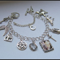 SUPERNATURAL CASTIEL CHARM BRACELET JENSEN ACKLES MISHA COLLINS SAM DEAN