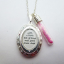 PETER PAN TINKERBELL FAIRY TRUST QUOTE SILVER LOCKET & DUST VIAL NECKLACE