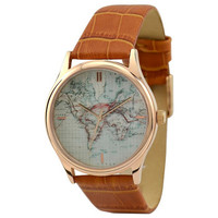 Vintage Map Watch (World with stripes)