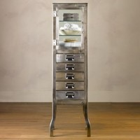 Pharmacy Large Bath Cabinet with Drawers Brushed Steel | Storage & Furniture | Restoration Hardware