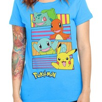 Pokemon Group Turquoise Girls T-Shirt - 130662