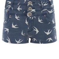 New Look Mobile | Parisian Blue Swallow Print High Waisted Denim Shorts