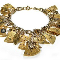 Steampunk Bracelet GOLD Antique Watch Parts Dangles by edmdesigns