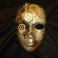 Clockwork Steampunk OOAK Painted Mask by mistypinktiger on Etsy
