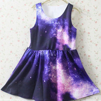Purple Pink Galaxy Pattern Dress Chic 56
