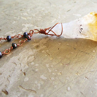 Citrine Crystal Necklace  Rough Cut Crystal  by contempojewels