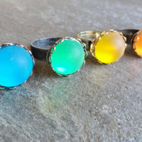 Bohemian Ring Adjustable Green Yellow Orange Blue Bohemian Jewelry