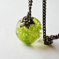 Green Moss Necklace 02 Real Forest Moss Specimen Orb Resin Pendant Botanical Dried Plant Nature Woodland