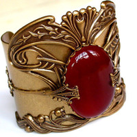 Art Nouveau Brass Cuff Carnelian Agate Gemstone by LeBoudoirNoir