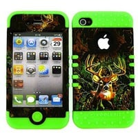 BUMPER CASE FOR IPHONE 4 SOFT LIME GREEN SKIN HARD FOREST CAMO DEER COVER