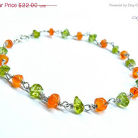 ON SALE Orange & Green Anklet with gemstones - peridot, carnelian stone ankle bracelet for summer, made in Hawaii
