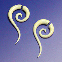 Fake Gauges - Zuriel Spiral Tails - Eco-Friendly Bone Earrings
