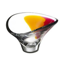 Kosta Boda Aria Bowl, Amber/Red