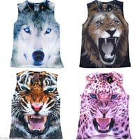 Womens Tiger or Wolf Wild Animal Print Tank Top T Shirt Sizes 6 - 20