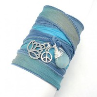 Silk Wrap Bracelet with Lotus, Peace Sign, and Amazonite | charmed design