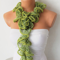 Green Flamenko Shades Ruffle Scarf by fairstore on Etsy