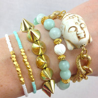 Buddhalicious Mint and Gold Bracelet Stack Set