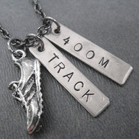 RUN TRACK 400 METER Necklace - Running Necklace on 18 inch gunmetal chain - Track Jewelry