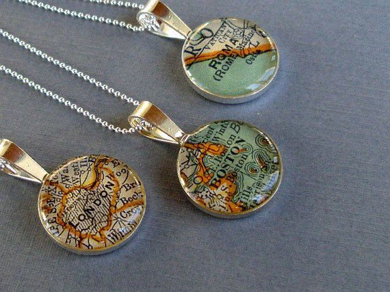 Map Necklace Sterling  Silver  Loop Style Custom by sherrytruitt