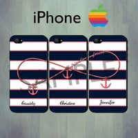 Nautical Infinity Best Friends Forever Blue Coral Stripe iPhone case - Personalized Coral Anchor iPhone 4 or iPhone 5 Case, Three Case Set