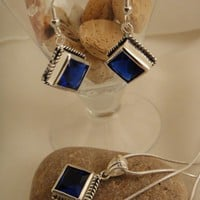 Natsogi Deep Blue Sapphire Quartz Sterling Silver Earring-Necklace Set