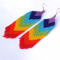 Chevron Earrings. Beaded Dangle Long Earrings. Rainbow Earrings. Beadwork