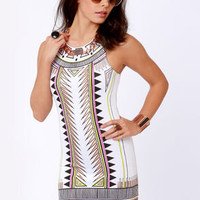 Mink Pink Techno Tribe White Print Dress