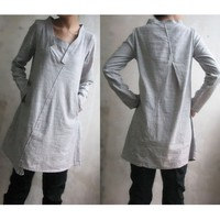 Lovely Asymmetrical Linen Dress/ 11 Colors/ Any Sizes by ramies