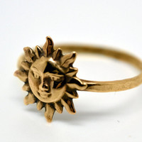 Gold Sun Ring, 14K Gold Fill Ring, Womens Jewelry