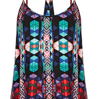 Aztec Print Pleat Suntop - Tops - Clothing - Topshop USA