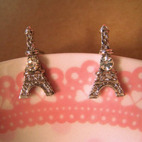Eiffel Tower Earrings Studs by Bitsofbling on Etsy