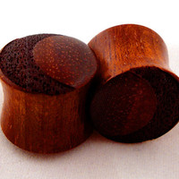 "Crescent Moon - Bloodwood Wooden Graphic Plugs - 0g (8 mm) 00g (9 mm) 7/16"" (11 mm) 1/2"" (13 mm) 9/16"" (14 mm) 5/8 (16 mm) Wood Gauges"