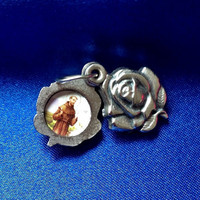 RELIGIOUS Saint Francis of Assisi Sliding Rose Silver Medal