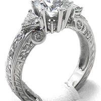 Engagement Ring - Vintage Style Round Diamond Engagement Ring Setting Pave-Set in 14K White Gold 0.69 tcw. - ES290WG