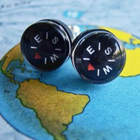 Tiny Compass Earrings