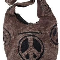 Peace Sign Stonewashed Sling Purse Handbag in Brown