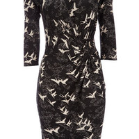 Black And Ivory Bird Print Dress - Printed Dresses  - Dresses