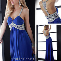 Gorgeous beading halter evening dress - multicolor in from Your Closet