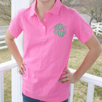 Monogrammed Ladies Pique Polo