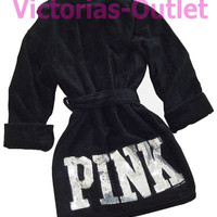 New Victoria's Secret PINK Logo Bling Shimmer Sequin Terry Black Robe XS S