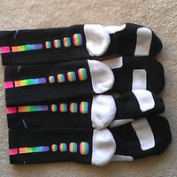 Custom Rainbow Nike Elite  socks sizes Small, Medium and Large