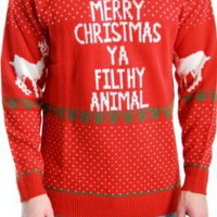 Amazon.com: Ugly Christmas Sweater Home Alone Merry Christmas Ya Filthy Animal: Clothing