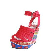 Bamboo Dorothy Red Tribal Printed Strappy Canvas Wedges and Womens Fashion Clothing & Shoes - Make Me Chic