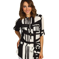 Calvin Klein Printed Tunic w/ Self Belt