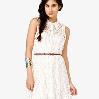 Belted Floral Lace Dress | FOREVER 21 - 2037266023