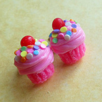 pink strawberry spring time cupcake stud earrings post earrings polymer clay pastel sprinkes