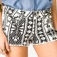 Southwestern Print Denim Shorts