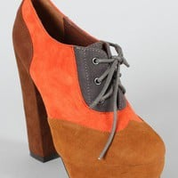 Fogo-09 Colorblock Lace Up Oxford Bootie Camel