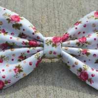 White with Pink Floral Hair Bows