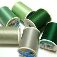 6 Spools of New Sewing, Quilting Thread in Gray and Green Shades, Coats and Clark, Americana, DIY